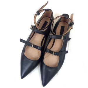 Topshop black leather pointed toe Kitsch flats